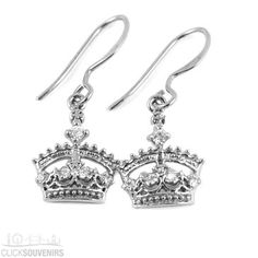 Sterling Silver Crown Earrings with White Stones