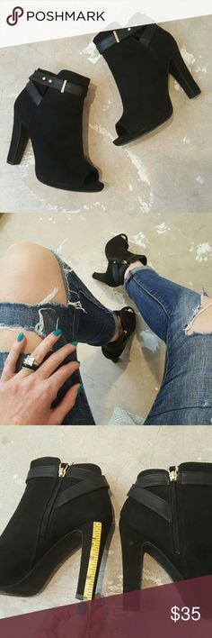 Sam & Libby Peep Hole Ankle Booties I am selling a gorgeous and sexy pair of peep-toe ankle booties by Sam & Libby.  These aren't a particularly expensive brand but they lack a mean style punch, perfect for fall and so on trend.  This particular pair has never been worn outside, excellent condition size 8. (You'll see a spot in third photo on heel, which is the only flaw, bought that way not from wear.) Sam & Libby Shoes Ankle Boots & Booties