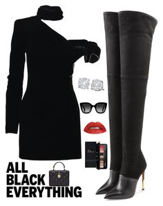 """""""Sexy in Black"""" by kotnourka ❤ liked on Polyvore featuring Balmain, Yves Saint Laurent, Dolce&Gabbana, Estée Lauder, Gucci and allblackoutfit"""