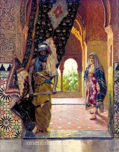 "Rudolf Ernst , ""The Guard of the Harem"". The eunuchs in the Ottoman Empire came from mainly a Coptic monastery, Abou Gerbe on Mount Ghebel Eter. The Coptic priests castrated Nubian or Abyssinian slave boys around the age of eight. Black History, Art History, Art Arabe, Jean Leon, Empire Ottoman, Arabian Art, Exotic Art, European Paintings, Arabian Nights"