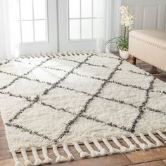 nuLOOM Hand-knotted Moroccan Trellis Natural Shag Wool Rug (8' x 10') - Overstock Shopping - Great Deals on Nuloom 7x9 - 10x14 Rugs