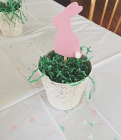 Bunny Centerpieces. Super easy DIY project with antlers or party hats for TBs birthday