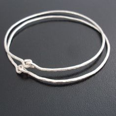 Hammered Sterling Silver Bangle Bracelets by FrostedWillow on Etsy, $44.00