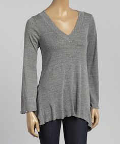 Loving this Gray V-Neck Sidetail Top on #zulily! #zulilyfinds