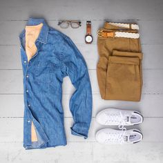 Summer outfit men adidas shoes - jeans shirt - brown pants