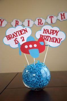 Airplane Birthday Centerpiece; Airplane Happy Birthday Centerpiece; Up Up and Away Birthday Centerpiece