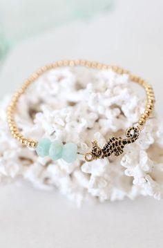 Gold and Mint Seahorse Bracelet