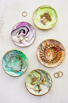 LOOK WHAT I MADE!!! DIY Marbleized Clay Ring Dishes