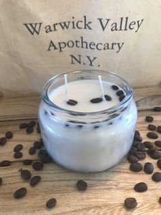 Coffee scented soy candle by WarwickApothecaryNY on Etsy https://www.etsy.com/listing/591713177/coffee-scented-soy-candle
