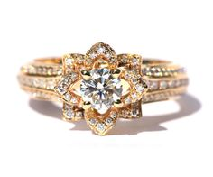 UNIQUE Flower Rose Diamond Engagement or Right Hand Ring – 2.25 carat – 14K yellow gold – 14k White gold – 14K rose gold- wedding – fL01YG