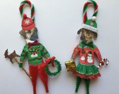 Rhodesian Ridgeback CHRISTMAS ornaments UGLY SWEATER dog ornaments vintage style chenille ornaments set of 2