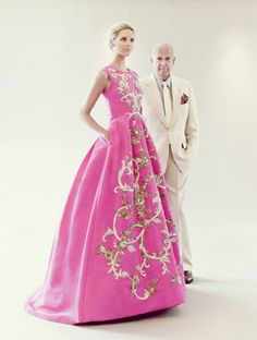 GORGEOUS cut - Oscar De la Renta pink silk faille gown with gold bullion and bead embroidery