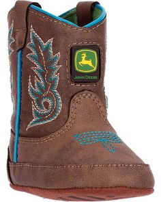 John Deere Boys Brown Turquoise Stitch Pull-On Crib Boots Baby Baby Boy Cowboy, Baby Cowboy Boots, Western Boots, Wellington Boot, Casual Boots, Bearpaw Boots, Baby Boy Outfits, Children Outfits, Baby Booties
