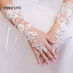 Ivory Simple Bride Wedding Gloves Evening Fingerless Luva De Noiva Luva Lace Bridal Gloves Para Noiva Wedding Accessories #Affiliate