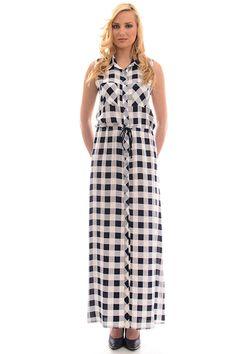 Φόρεμα καρό μακρύ αμάνικο με δέσιμο στη μέση. μόνο 29.00€ #moda #style #fashion