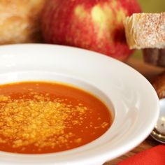 Creamy Apple and Tomato Soup: An easy tomato soup recipe with the addition of fresh apple and apple cider to help celebrate the fall season.    Recipe developed by George Duran for Hunt's