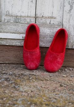 Felted Merino + Wensleydale slippers. Latex or cork soles.  And RED.