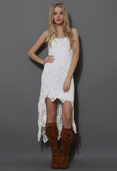 Santorini Hand-knit Crochet Dress in Off-White