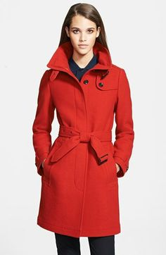 Red Coat: Burberry Structured Boiled Wool Coat | Coats | Pinterest ...