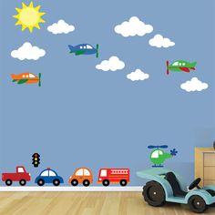 Airplane Wall Decal Cars Decal REUSABLE  B607SWA by StudioWallArt, $96.00