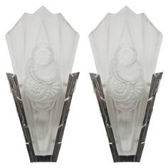 Pair of French Art Deco Wall Sconces Signed by Degue | From a unique collection of antique and modern wall lights and sconces at https://www.1stdibs.com/furniture/lighting/sconces-wall-lights/
