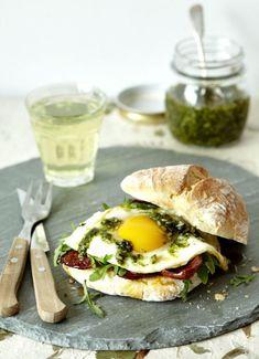 Fried Egg with Chorizo and Sage Pesto Sandwich