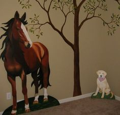 Mom could paint this at the next house! Ellie's favorites, caballos and perdito! horse wall stickers for bedroom Horse Mural, Horse Wall Art, Horse Themed Bedrooms, Horse Rooms, Cowgirl Room, Murals For Kids, Modern Wall Decor, Mural Painting, Living Room Art