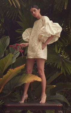 By Efrain Mogollon Maria Luisa Embroidered Silk-Taffeta Dress Taffeta Dress, Strapless Mini Dress, Silk Taffeta, Couture Fashion, Fashion Show, Fashion Trends, Fashion Details, Fashion Design, Poses
