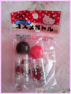 Cute Hello Kitty travel storage bottles. Authentic, licensed Sanrio product from Japan.  Set of two; one with black lid and one with red lid.  Buy $70 or more in store merchandise to get one of these lens cases for free! Place this item in your cart, and the price will be refunded after your or...