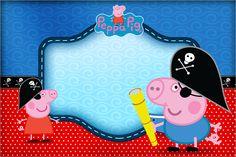 Convite, Moldura e Cartão George Pig Pirata (Peppa Pig):