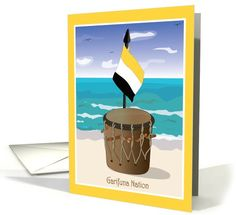 Garifuna Nation Greeting Card. This Garifuna Greeting Cards was inspired by the Garifuna Culture which was originated in the Island of St. Vincent prior to the Garifuna people's exile to Central America in 1797. The language is currently spoken by more than 300,000 Garifunas, mainly, in Central America and United States. Available on: www.greetingcarduniverse.com/isidra Original design by Isidra Sabio