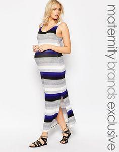New Look Maternity Stripe Printed Maxi Dress