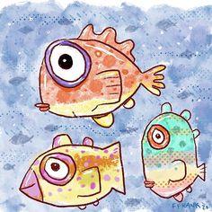 Fish art by FFrank. Ocean Aquarium, Fish Artwork, Frank Ocean, Happy Art, Colorful Fish, Artist, Blue, Painting, Comet Goldfish