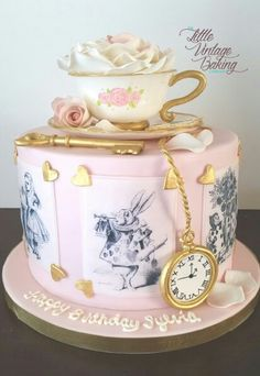 Vintage Alice in Wonderland cake by The Little Vintage Baking Company https://www.facebook.com/littlevintagebaking/?ref=aymt_homepage_panel