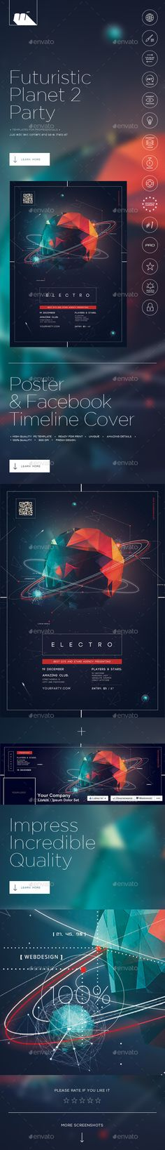 Futuristic Planet Party 2 Poster Tempalte #design Download: http://graphicriver.net/item/futuristic-planet-party-2-poster/12503527?ref=ksioks
