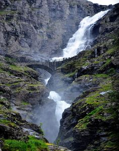 The waterfall crossing under one of Norway's most visited tourist roads | Trollstigen, More og Romsdal, Norway
