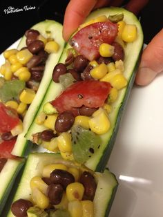 Black Bean and Corn Salad Zucchini Boats with Wine Vinaigrette | Only 39 Calories/ Boat | Awesome Dressing | Fiber, Protein-Packed | For MORE RECIPES please SIGN UP for our FREE NEWSLETTER www.NutritionTwins.com