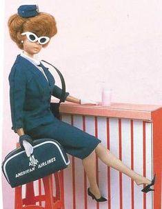 1961 American Airlines Stewardess Barbie - Barbie - Women in Uniform Barbie Diorama, Barbie Skipper, Realistic Dolls, Strong Women Quotes, Vintage Barbie Dolls, Barbie House, Barbie World, Doll Face, Some Fun