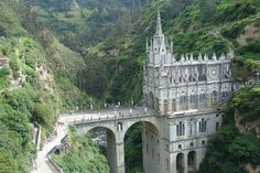"""Las Lajas Sanctuary is a basilica church located in the southern Colombian Department of Nariño, municipality of Ipiales and built inside the canyon of the Guáitara River.  The Spanish Franciscan Juan de Santa Gertrudis (1724–1799) mentions the sanctuary in Book III, Part 2, of his four volume chronicle of his 1756–62 journey in the south portion of the Kingdom of New Granada (titled """"Wonders of Nature""""). This is possibly the oldest reference to its existence. — with Susan Leon Lino."""
