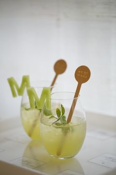 Use fruit and cookie cutters to create these uber cool personalized drink garnishes (sorry I don't know the original source - JS).