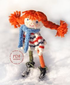 Doll knitting pattern/Doll Ginger Red by elvesworld on Etsy