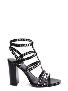 Sandales montantes Poison Ash en cuir noir clous carrés métal argenté    Chaussures pas cher   Shoes, Sandals et Ash shoes 3d36c083733d