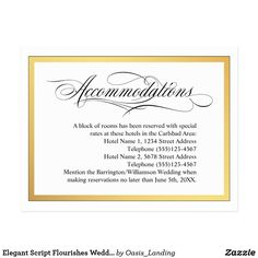 "Elegant Script Flourishes Wedding Accommodations Postcard - Provide your out-of-town wedding guests with hotel accommodations information near your wedding venue. This elegant accommodations card coordinates with the ""Elegant Script Flourishes"" wedding collection. Edit the text with your hotel information. Sold at Oasis_Landing on Zazzle."