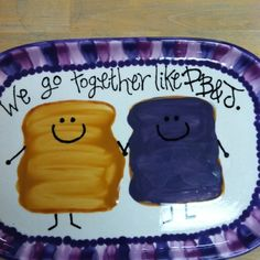 We go together like PB J! Ceramic plate click the image or link for more info. Painted Ceramic Plates, Ceramic Painting, Ceramic Pottery, Painted Pottery, Pottery Painting Designs, Pottery Designs, Paint Designs, Pottery Ideas, Pottery Place