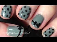 Cute polka dot designs for short nails. Could even do white with black polka dots.