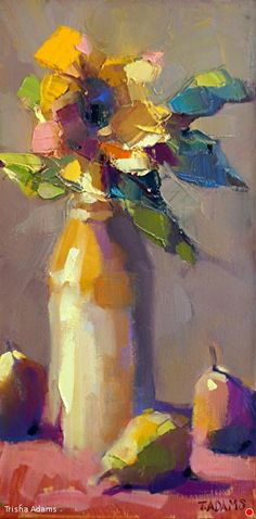 Sunflower in Ginger Beer Bottle by Trisha Adams Oil ~ 16 x 8