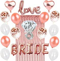 Rose Gold Bachelorette Party Decorations: Bridal Shower Complete Hen Night Getting Married Kit BRIDE Foil Balloon 1 Love Silver Mylar Diamond Ring 2 Heart 12 Latex White Confetti Metallic Tinsel Aluminum Fringe Curtain Nuptial Wedding Supplies Bridal Shower Balloons, White Bridal Shower, Gold Bridal Showers, Bride Shower, Bride To Be Balloons, Foil Balloons, Glitter Balloons, Bachelorette Party Decorations, Bridal Shower Decorations