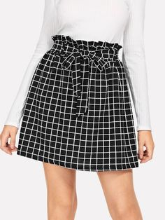 Women Casual Plaid Shift Black and White Midi Length Frill Belted Waist Grid Skirt with Belt Summer Fashion Outfits, Skirt Fashion, Skirt Outfits, Cute Outfits, Skirts With Boots, Dress Shapes, Pants For Women, Clothes For Women, Business Casual Outfits