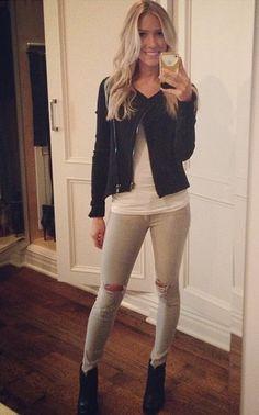 Black leather jacket, grey jeans, white tee, black booties