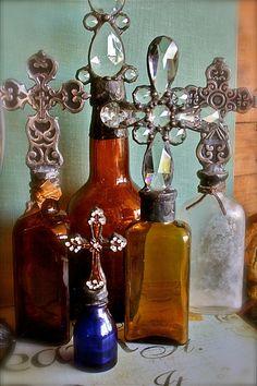artistic bohemian home decor | ... Vintage Amber Cross Bottle For Your Inner Bohemian Eclectic Home Decor